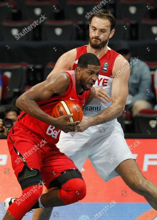 Tristan Thompson (l) of Canada in Action Against Semih Erden (r) of Turkey During the 2016 Fiba Olympic Qualifying Tournament Match Between Turkey and Canada at the Sm Mall of Asia Arena in Pasay City South of Manila Philippines 05 July 2016 the 2016 Fiba Olympic Qualifying Tournament Will Run From 05 to 10 July 2016 Philippines Manila