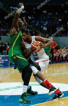 Tristan Thompson (r) of Canada in Action Against Hamady Ndiaye (l) of Senegal During the 2016 Fiba Olympic Qualifying Tournament Match Between Canada and Senegal at the Sm Mall of Asia Arena in Pasay City South of Manila Philippines 06 July 2016 the 2016 Fiba Olympic Qualifying Tournament Will Run From 05 to 10 July 2016 Philippines Pasay City