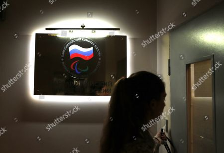 The Logo of the Russian Paralympic Committee is Illuminated on a Wall at the Office of Russian Paralympic Committee in Moscow Russia 08 August 2016 the Russian Paralympic Team Will not Be Allowed to Compete in the Rio 2016 Paralympic Games the Head of the International Paralympic Committee (ipc) Sir Philip Craven Announced 07 August with 21 Days Allowed For Russia to Appeal the Ban Russian Federation Moscow