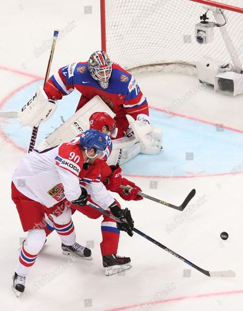 Sergei Bobrovski (beck) and Pavel Datsyuk (c) of Russia in Action Against Robert Kousal of Czech Republic During the Ice Hockey World Championship 2016 Preliminary Round Match Between Russia and Czech Republic at the Ice Palace in Moscow Russia 06 May 2016 Russian Federation Moscow