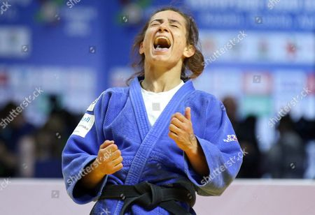 Gold Medalist Majlinda Kelmendi of Kosovo Celebrates Her Victory Over Priscilla Gneto of France in the Women's -52 Kg Category Final Bout at the European Judo Championships at the Tatneft Arena in Kazan Russia 21 April 2016 Russian Federation Kazan