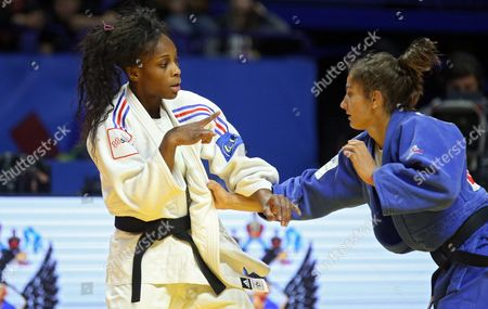 Gold Medalist Majlinda Kelmendi of Kosovo (blue) in Action Against Priscilla Gneto of France During the Women's -52 Kg Category Final Bout at the European Judo Championships at the Tatneft Arena in Kazan Russia 21 April 2016 Russian Federation Kazan