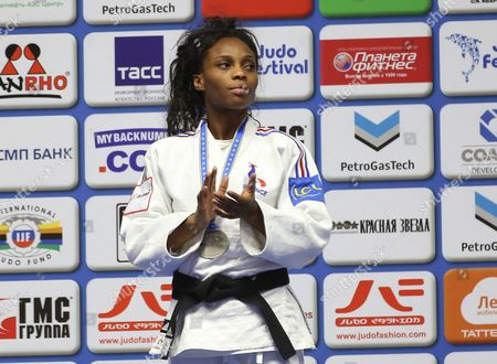 Silver Medalist Priscilla Gneto of France Poses on the Podium During the Women's - 52 Kg Category Medal Ceremony of the European Judo Championships at the Tatneft Arena in Kazan Russia 21 April 2016 Russian Federation Kazan