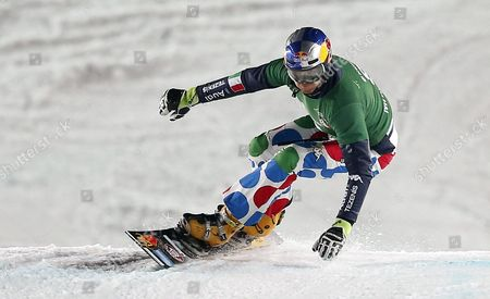 Roland Fischnaller of Italy Competes in the Men's Parallel Slalom at the Fis Snowboard World Cup Event in Moscow Russia 30 January 2016 Russian Federation Moscow