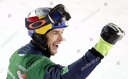 Roland Fischnaller of Italy Celebrates Winning the Men's Parallel Slalom Competition at the Fis Snowboard World Cup Event in Moscow Russia 30 January 2016 Russian Federation Moscow