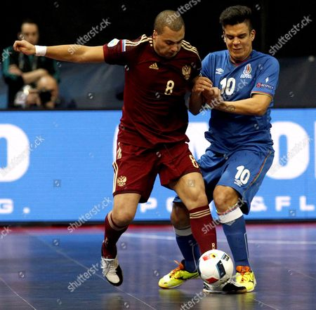 Eder Lima (l) of Russia in Action Against Amadeu (r) of Azerbaijan During the Uefa Futsal European Championships Quarter Final Match Between Russia and Azerbaijan in Belgrade Serbia 09 February 2016 Serbia and Montenegro Belgrade