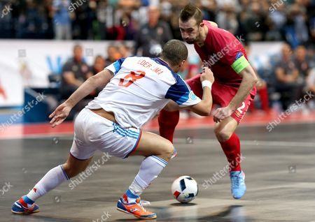 Marko Peric (r) of Serbia in Action Against Eder Lima (l) of Russia During the Uefa Futsal European Championships Semi Final Match Between Serbia and Russia in Belgrade Serbia 11 February 2016 Serbia and Montenegro Belgrade