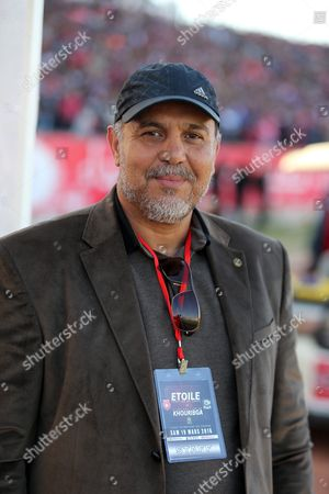 Head Coach Mohamed Karim Zouaghi of Olympique Club De Khouribga During the Caf Champions League Soccer Match Between Etoile Sportive Du Sahel of Tunisia and Olympique Club De Khouribga of Morocco at the Olympique Stadium in Sousse Tunisia 19 March 2016 Tunisia Sousse