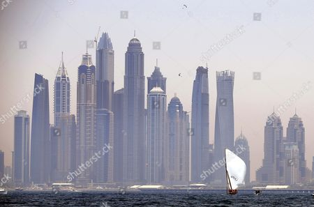 The 'Zilzal' Dhow Boat Owned by H H Sheikh Hamdan Bin Mohammed Bin Rashid Al Maktoum Crown Prince of Dubai and Chairman of Dubai Executive Council on the Way to Win the Al Gaffal Dhow Race in Dubai United Arab Emirates 20 May 2016 the Al Gaffal Traditional 60ft Dhow Race is the Biggest Traditional Sailing Race in the World and Sees Traditional Dhow Sailing Vessels Taking Part the Race Begins From Sur Bu Na'air Island Off the Coast of the Uae Heads East Towards the First Check Point at Moon Island 23 60 Nautical Miles From the Start Line and Then Changes Course Slightly For the Final 27 30 Nautical Miles to the Finish Line at Mina Seyahi in the Dubai International Marine Club (dimc) United Arab Emirates Dubai