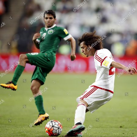 Saudi Player Yahia Al-shehri (l) Fights For the Ball with Omar Abdul-rahman (r) Player of United Arab Emirates (uae) During the Fifa World Cup 2018 Asian Qualifying Group a Soccer Match Between Uae and Saudi Arabia at Mohammed Bin Zayed Stadium- Aljazira Club in Abu Dhabi United Arab Emirates on 29 March 2016 United Arab Emirates Abu Dhabi