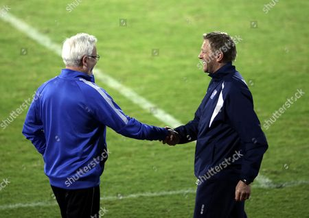 Finnish National Soccer Team's Swedish Head Coach Hans Backe (l) Shakes Hands with Iceland Coach Heimir Hallgrimsson (r) After the International Friendly Soccer Match Between Finland and Iceland at Armed Forces Stadium in Abu Dhabi United Arab Emirates 13 January 2016 Iceland Won 1-0 United Arab Emirates Abu Dhabi