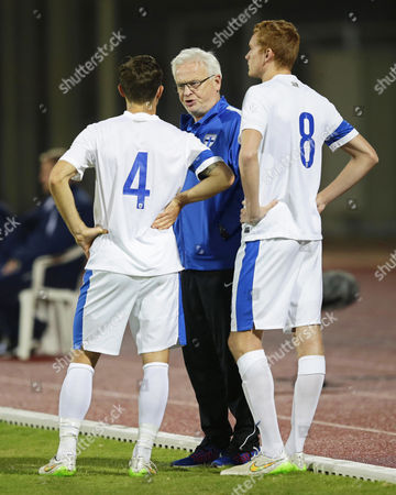Finnish National Soccer Team's Swedish Head Coach Hans Backe (c) Gives Instructions to His Players During the International Friendly Soccer Match Between Finland and Iceland at Armed Forces Stadium in Abu Dhabi United Arab Emirates 13 January 2016 Iceland Won 1-0 United Arab Emirates Abu Dhabi