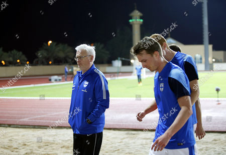 Finnish National Soccer Team's Swedish Head Coach Hans Backe (l) and His Players Leave After the International Friendly Soccer Match Between Finland and Iceland at Armed Forces Stadium in Abu Dhabi United Arab Emirates 13 January 2016 Iceland Won 1-0 United Arab Emirates Abu Dhabi