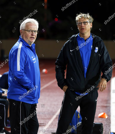 Finnish National Soccer Team's Swedish Head Coach Hans Backe (l) Talks to a Member of the Coaching Staff During the International Friendly Soccer Match Between Finland and Iceland at Armed Forces Stadium in Abu Dhabi United Arab Emirates 13 January 2016 Iceland Won 1-0 United Arab Emirates Abu Dhabi