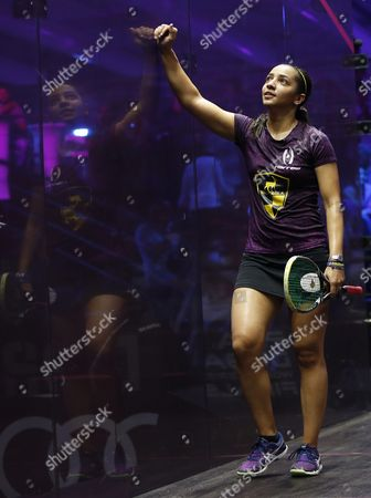 Raneem El-welily of Egypt Reacts After Winning Against Nicol David of Malaysia During Their Women's Singles Semi Final Match at the Professional Squash Association (psa) World Series Finals in Dubai United Arab Emirates 27 May 2016 United Arab Emirates Dubai