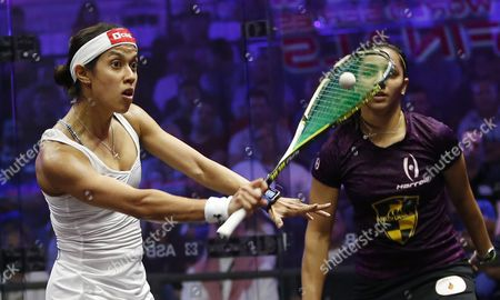 Nicol David (l) of Malaysia in Action Against Raneem El-welily of Egypt During Their Women's Singles Semi Final Match at the Professional Squash Association (psa) World Series Finals in Dubai United Arab Emirates 27 May 2016 United Arab Emirates Dubai