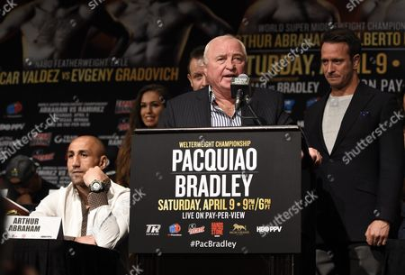 Ulli Wegner German Boxing Coach and Trainer of Arthur Abraham (l) Speaks As Boxing Promoter Kalle Sauerland (r) Looks on During Their Undercard Press Conference at the Pacquiao - Bradley Media Center in the Mgm Grand Arena in Las Vegas Nevada Usa 07 April 2016 Abraham and Ramirez Will Face Off in the World Super Middleweight Championship Bout on 09 April United States Las Vegas