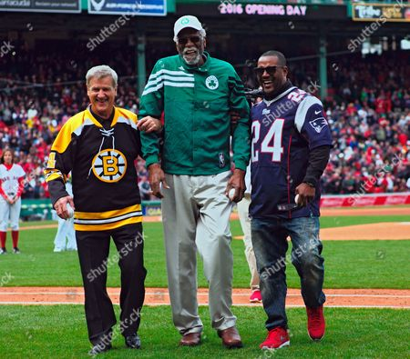 Boston Sports Figures Former Bruins Bobby Orr (l) and Former New England Patriot Ty Law (r) Help Former Celtic Bill Russell (c) Off the Field Following Pre-game Ceremonies Before the Game Between the Boston Red Sox and the Baltimore Orioles at Fenway Park in Boston Massachusetts Usa 11 April 2016 United States Boston