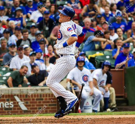 Chicago Cubs Outfielder Chris Coghlan Reacts As He is Hit by a Pitch Thrown by St Louis Cardinals Pitcher Jerome Williams in the Seventh Inning of Their Mlb Game at Wrigley Field in Chicago Illinois Usa 12 August 2016 United States Chicago