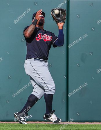 Cleveland Indians Center Fielder Marlon Byrd Catches a Fly Ball Hit by Chicago White Sox Shortstop Jimmy Rollins in the Fifth Inning of Their Mlb Game at Us Cellular Field in Chicago Illinois Usa 23 May 2016 United States Chicago
