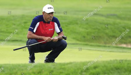 Jeev Milkha Singh of India Lines Up His Putt on the Fourth Hole During the Continuation of the First Round at 116th Us Open Championship at Oakmont Country Club in Oakmont Pennsylvania Usa 17 June 2016 the Tournament Will Be Played 16 June Thorough 19 June United States Oakmont