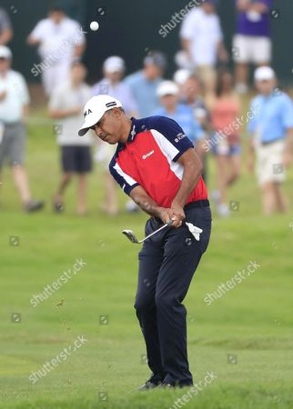 Stock Picture of Jeev Milkha Singh of India Chips on the Fourth Hole During the Continuation of the First Round at 116th Us Open Championship at Oakmont Country Club in Oakmont Pennsylvania Usa 17 June 2016 the Tournament Will Be Played 16 June Thorough 19 June United States Oakmont