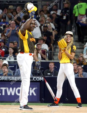 Former Baseball Player Andre Dawson (l) Waves to Fans As He Takes to the Plate on His Birthday During the All-star Celebrity Baseball Game at Petco Park in San Diego California Usa 10 July 2016 United States San Diego