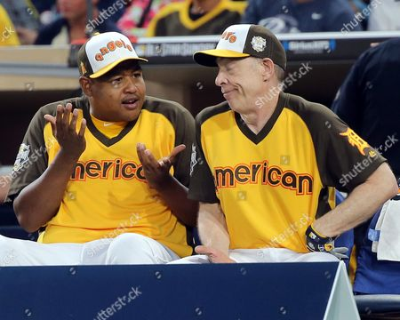 Us Actors Omar Miller (l) and J K Simmons (r) Converse on the Bench During the All-star Celebrity Baseball Game at Petco Park in San Diego California Usa 10 July 2016 United States San Diego