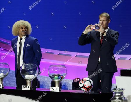 Former Us Soccer Player Alexi Lalas (r) Takes a Picture with His Mobile Phone While Former Colombian Soccer Player Carlos Valderrama (l) Looks on During the 2016 Copa America Centenario Official Draw at the Hammerstein Ballroom in New York New York Usa 21 February 2016 United States New York