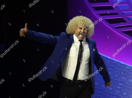 Former Colombian Soccer Player Carlos Valderrama (l) Reacts As He is Introduced During the 2016 Copa America Centenario Official Draw at the Hammerstein Ballroom in New York New York Usa 21 February 2016 United States New York