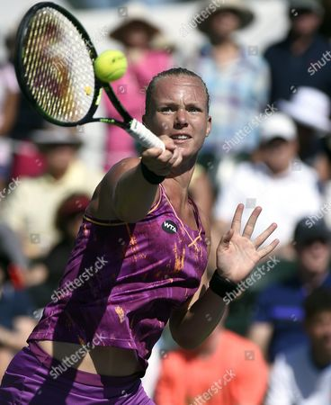 Kiki Bertens of the Netherlands Hits a Return Against Aleksandra Wozniak of Canada During Their Tennis Match at the Bnp Paribas Open in Indian Wells California Usa 08 March 2016 United States Indian Wells