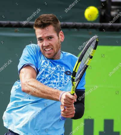 Austin Krajicek of the Usa in Action Against Marco Trungelliti of Argentina During Their Qualifying Round Match at the Miami Open Tennis Tournament on Key Biscayne Miami Florida Usa 21 March 2016 United States Miami