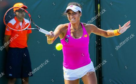 Heather Watson of Britain in Action Against Petra Cetkovska of the Czech Republic During Their First Round Match at the Miami Open Tennis Tournament on Key Biscayne Miami Florida Usa 23 March 2016 United States Miami