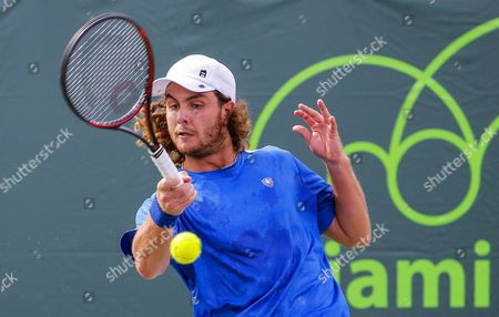 Marco Trungelliti of Argentina in Action Against Austin Krajicek of the Usa During Their Qualifying Round Match at the Miami Open Tennis Tournament on Key Biscayne Miami Florida Usa 21 March 2016 United States Miami