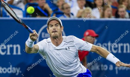 Andy Murray of Britain Hits a Return Shot to Juan Monaco of Argentina During Their Second Round Match of the Western & Southern Open Tennis Championships at the Linder Family Tennis Center in Mason Near Cincinnati Ohio Usa 17 August 2016 United States Mason