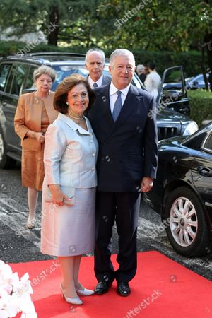 Crown Princess Katherine (l) and Crown Prince Alexander of Serbia (r) Arrive For the Wedding Ceremony of Albanian Prince Leka Zogu Ii and Elia Zaharia Held in Tirana Albania 08 October 2016 Albania Tirana