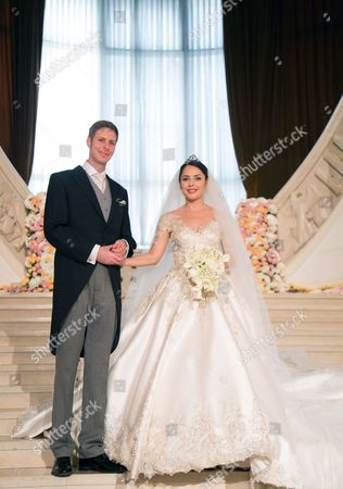 Albanian Prince Leka Zogu Ii (l) and His Wife Elia Zaharia (r) Smile For a Picture After Their Wedding Ceremony Held in Tirana Albania 08 October 2016 Albania Tirana