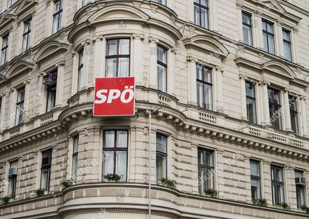 The Logo of the Social Democratic Party of Austria (spoe) is Seen at the Party's Headquarters Building in Vienna Austria 11 May 2016 the Austrian Social Democrats Are Discussing on who Will Succeed Werner Faymann As Austrian Chancellor and Spoe Party Chairman After Faymann Resigned 09 May Two Weeks After His Party was Defeated in the First Round of the Presidential Elections Austria Vienna