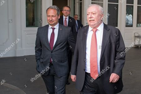 Michael Haeupl (r) the Governor of Vienna and Deputy Social Democratic Party of Austria (spoe) Chairman and Party Whip Andreas Schieder (l) Arrive For a Meeting in Vienna Austria 09 May 2016 Austrian Chancellor Werner Faymann of the Spoe Party Earlier on 09 May Had Handed in His Resignation As Chancellor After the Spoe Had Poor Results in the Recent Presidential Vote and with Calls For the Spoe to Cooperate with Austrian Anti Immigration Far Right Parties Austria Vienna