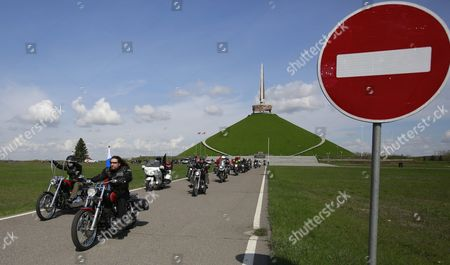Alexander Zaldostanov (2l) Leader of the Russian Motorcycle Club the Night Wolves with His Club-mates Leave the Mount of Glory Monument on the Outskirts of Minsk During Their Rally From Moscow to Berlin 'Victory Roads - to Berlin' Belarus 30 April 2016 the Annual 'Victory Roads - to Berlin' Motorcycle Rally Marking the 71st Anniversary of Victory Over the Nazi Germany in Wwii Lasts For 14 Days and Covers 6 000 Km Belarus Minsk