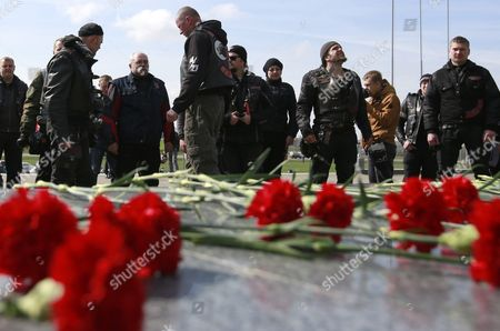 Alexander Zaldostanov (4-r) Leader of the Russian Motorcycle Club 'Night Wolves' and Other Members Attend a Stopover at the Khatyn Memorial Complex in Khatyn Some 60 Kilometers From Minsk Belarus 30 April 2016 During the Club's Rally From Moscow to Berlin Called 'Victory Roads - to Berlin' the Annual Motorcycle Rally Marking the 71st Anniversary of Victory Over Nazi-germany in Wwii Lasts For 14 Days and Covers a Distance of About 6 000 Kilometers Belarus Khatyn