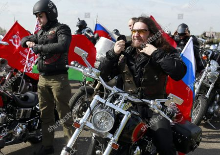 Alexander Zaldostanov (c-r) Leader of the Russian Motorcycle Club the Night Wolves with His Club-mates Attend the Mount of Glory Monument on the Outskirts of Minsk During Their Rally From Moscow to Berlin 'Victory Roads - to Berlin' Belarus 30 April 2016 the Annual 'Victory Roads - to Berlin' Motorcycle Rally Marking the 71st Anniversary of Victory Over the Nazi Germany in Wwii Lasts For 14 Days and Covers 6 000 Km Belarus Minsk