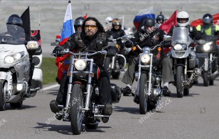 Alexander Zaldostanov (c-l) Leader of the Russian Motorcycle Club the Night Wolves with His Club-mates Leave the Mount of Glory Monument on the Outskirts of Minsk During Their Rally From Moscow to Berlin 'Victory Roads - to Berlin' Belarus 30 April 2016 the Annual 'Victory Roads - to Berlin' Motorcycle Rally Marking the 71st Anniversary of Victory Over the Nazi Germany in Wwii Lasts For 14 Days and Covers 6 000 Km Belarus Minsk