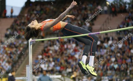 Anna Chicherova of Russia in Action During the Women's High Jump Competition at the Memorial Van Damme Iaaf Diamond League International Athletics Meeting in Brussels Belgium 11 September 2015 Belgium Brussels