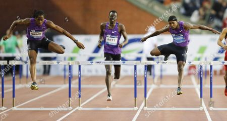 Jeffry Gibson From Bahamas (l) and Bershawn Jackson (r) From Usa During the Men's 400m Hurdles Race the Memorial Van Damme Iaaf Diamond League International Athletics Meeting in Brussels Belgium 11 September 2015 Belgium Brussels