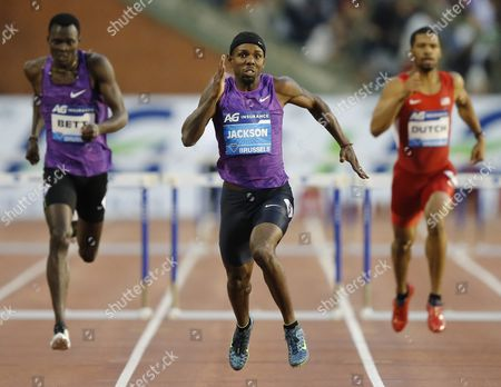 Bershawn Jackson (c) From Usa During the Men's 400m Hurdles Race the Memorial Van Damme Iaaf Diamond League International Athletics Meeting in Brussels Belgium 11 September 2015 Belgium Brussels