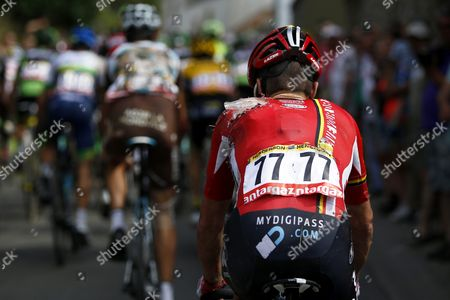 Stock Image of Lotto Soudal Team Rider Greg Henderson of New Zealand Following a Crash at the Bottom of the Cote De Bohissau Near Andenne Belgium 06 July 2015 During the 3rd Stage of the 102nd Edition of the Tour De France 2015 Cycling Race Over 159 5km Between Anvers and Huy Belgium Belgium Andenne