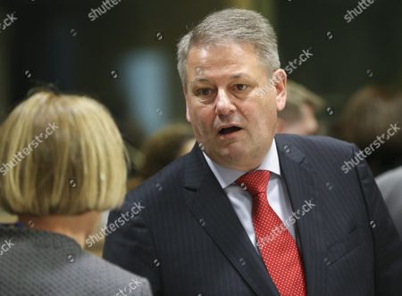 Austria's Federal Minister of Agriculture Forestry Environment and Water Management Andra Rupprechter (r) During a European Agriculture Ministers Council in Brussels Belgium 17 May 2016 Belgium Brussels