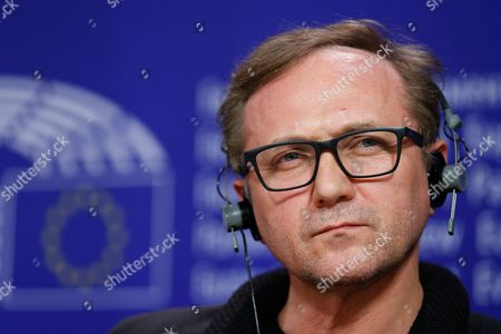 Stock Image of Polish Actor Andrzej Chyra Attends a New Conference at the European Parliament in Brussels Belgium 20 October 2015 Conference is About Refugee Crisis to Receive Appeal From European Film Celebrities 'For a Thousand Lives: Be Human ' Belgium Brussels