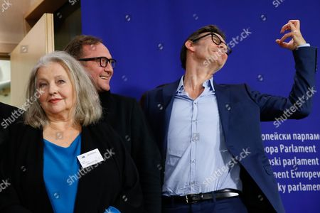 French Director Michel Hazanavicius (r) German Actress Hanna Shygulla (l) and Polish Actor Andrzej Chyra Pose For the Press After a Conference at the European Parliament in Brussels Belgium 20 October 2015 Conference is About Refugee Crisis to Receive Appeal From European Film Celebrities 'For a Thousand Lives: Be Human ' Belgium Brussels